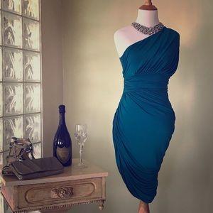 Sexy XS Halston Heritage 1-shoulder ruched dress.